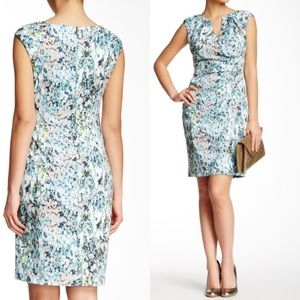 Adrianna Papell Floral Print Ruched Sheath Dress